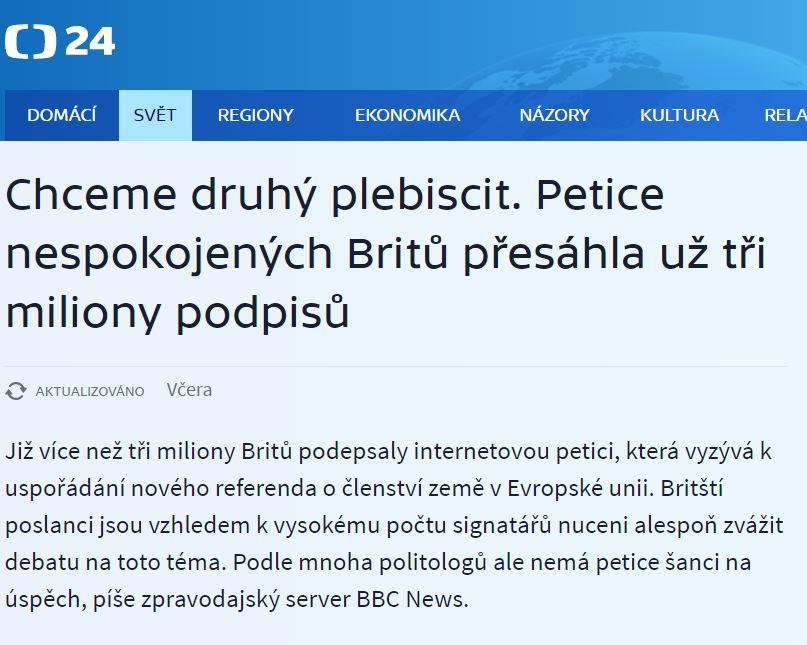 Lživá zpráva o petici Česká televize