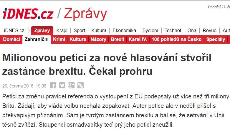 Lživá zpráva o petici iDNES.cz