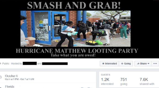 Jdu plenit! Příznivci Black Lives Matter se těší na hurikán Matthew