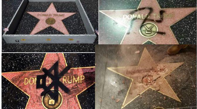 Dělník zničil hvězdu Donalda Trumpa na Chodníku slávy. Demokraté tleskají