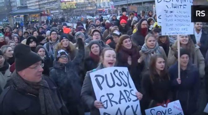 """Feministky na demonstraci proti Trumpovi v Berlíně křičely """"Allahu Akhbar"""" (video)"""