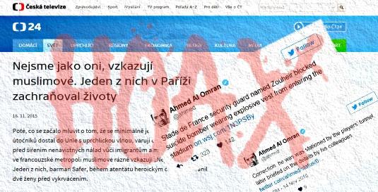 Česká televize sdílela hoax o hrdinném muslimovi, několik hodin mazala ty, kteří na to upozornili